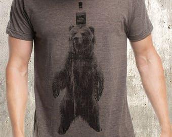 Bear and Whiskey T-Shirt - Screen Printed Men's t-Shirt
