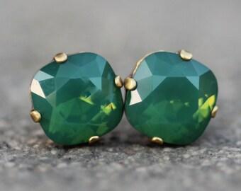 NEW Color Palace Green Opal Swarovski Cushion Stud,Swarovski Rhinestone Stud Post,12mm Stud,Jade Green Emerald Rainbow,Bridesmaids,Gift