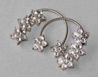 STUNNING Vintage Rhinestone Ear Cuffs,Rhinestone Ear Wrap,Mid Century,Flower Floral,Unique Earrings,Gift For Her,Bridal Weddings,Statement