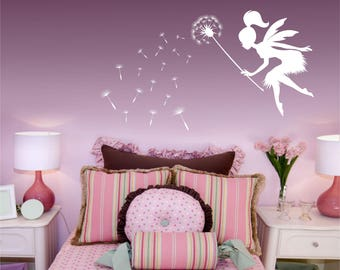 Dandelion wall decal, Fairy blowing dandelions, Dandelion seeds wall art, Kids wall mural, dandelion sticker, blowing dandelion decal decor