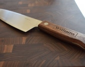 Chef Knife Hand Crafted in the USA Personalized Walnut Hardwood Stainless 440High Carbon