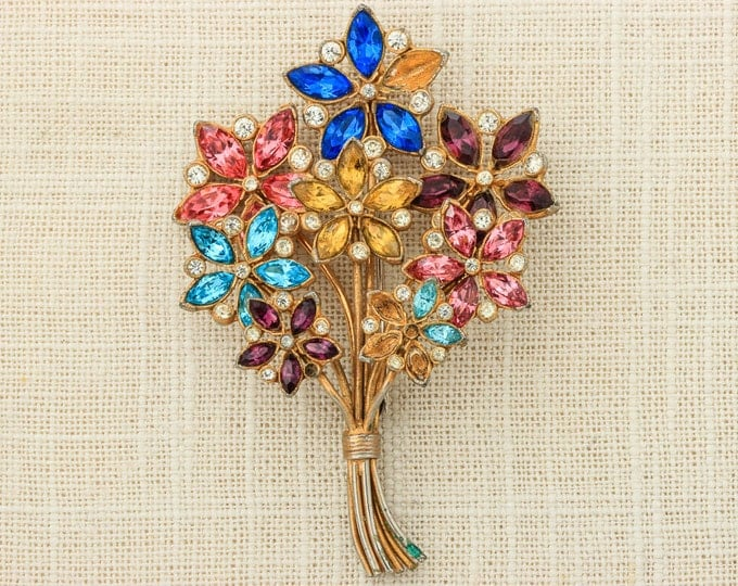 "Gorgeous Rainbow Flower Brooch Multicolor Bright Bouquet Brooch Vintage Huge 3.5"" 1930s 1940s Gold Pink Yellow Purple Blue 