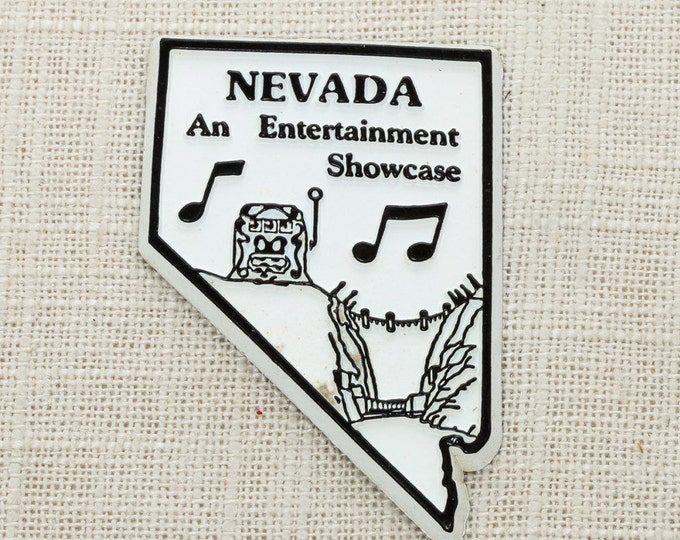 Nevada Vintage Silhouette State Magnet Hoover Dam Las Vegas Slots Travel Tourism Summer Vacation Memento Entertainment USA America Fridge 5S