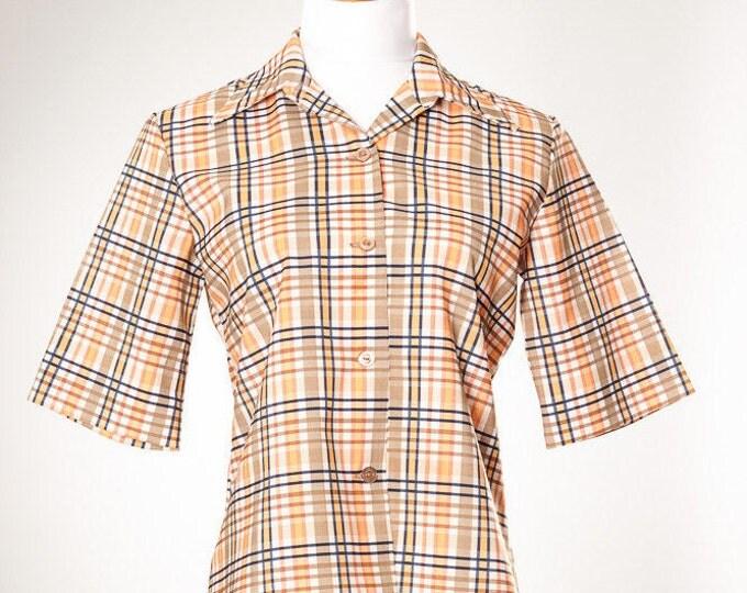 Medium Vintage Plaid Top 1970s Shirt 4AA SALE