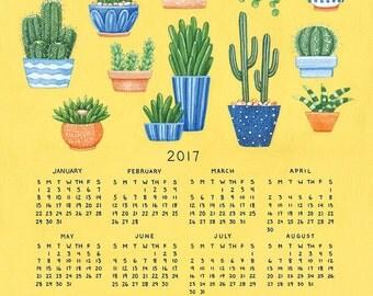 SALE 2017 Calendar, Cactus and Succulent Calendar, Single Page 11 x 14 Poster Calendar