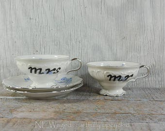 Mr and Mrs tea cups, mr and mrs cup set, hand painted words on cute tea cup, couple gift