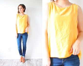Vintage yellow tank top // boho tank top // retro casual tank top // retro tank top / yellow small tank top / loose fit summer spring blouse