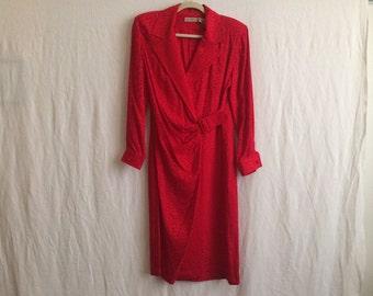 Vintage Liz Claiborne red silk dress size 12