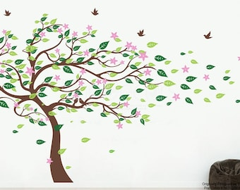Blowing Spring Blossom Tree with Birds- Wall Decal Flowers Bedroom Tree Wall Decal Nature Tree Wall Sticker Floral Tree Wall Art pt0304