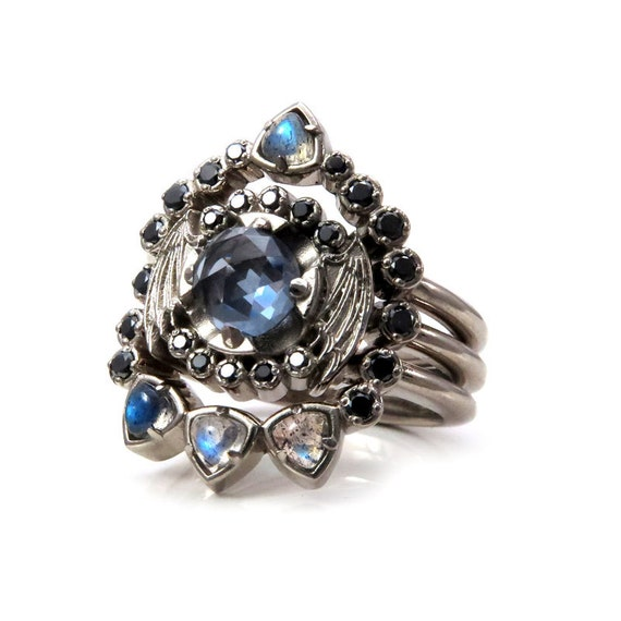 Bat Wing Engagement Ring Set - Modern Gothic Victorian Grey Quartz, Labradorite and Black Diamonds