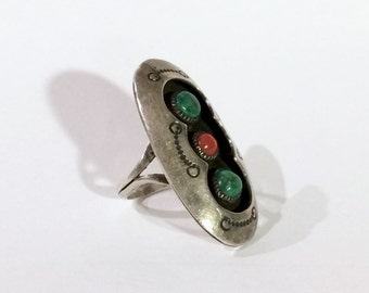 Native American Shadowbox Ring with Turquoise & Coral Signed Vintage Sterling Size 7