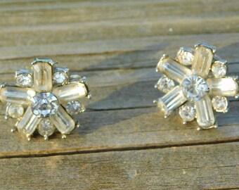 1950's Vintage Crystal or Rhinestone Costume Jewelry Screw Back Earrings