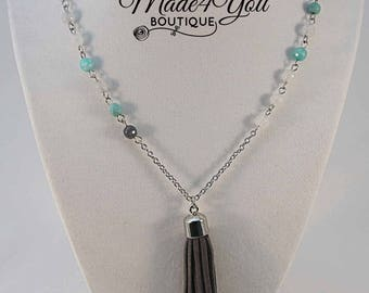 Grey Turquoise Tassel Necklace - Long Tassel Necklace
