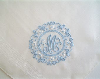 Unused Hankie Monogram M Hand Embroidered New Old Stock Vintage Handkerchief
