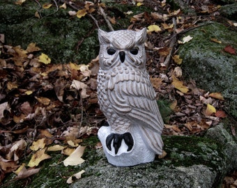 Owl Statue, Concrete Owl, Owl Perched On Stump, Painted Owl Concrete Statue, Bird Garden Figure. Garden Decor, Concrete Garden Statues, Art