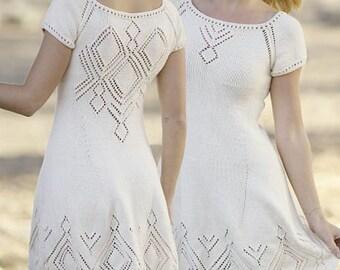 White Knit dress, made to order, cotton knit, handmade dress, spring dress, summer dress, beach cover up, mini wedding dress, bridal dress