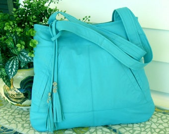 Recycled Leather Handbag Tote in Turquoise Blue with Tassel - Upcycled Leather