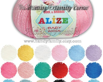 Alize Baby Wool. Antibacterial yarn. Wool / bamboo blend. Color of your choice. DSH