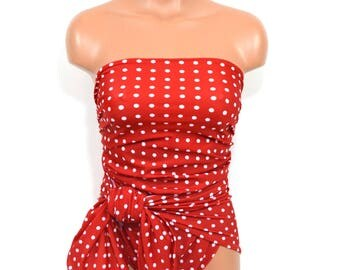 Medium Bathing Suit Wrap Around Swimsuit Red Polka Dots Womens, Teen and Maternity Resort Wear One Piece Swimwear One Wrap hisOpal