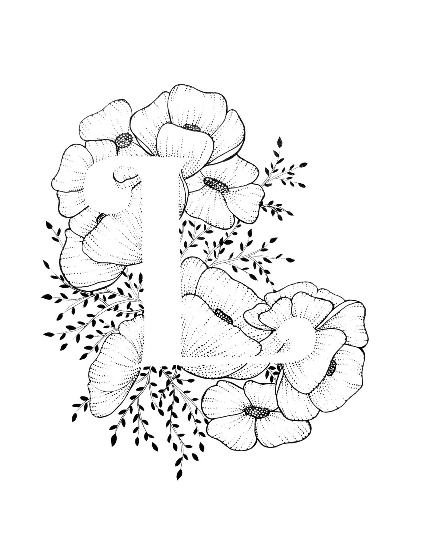 Letter l print alphabet calligraphy typography monogram