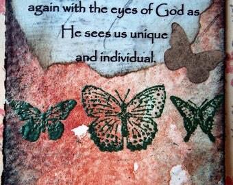 Inspirational Artist Trading Card With Butterflies Spiritual Art Watercolors Mixed Media Art