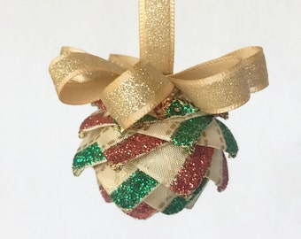 "1.5"" Mini Christmas Ribbon Ornament, Christmas Pinecone Ornament, Gold Sparkle Ornament, Red and Green Glitter, Quilted Ornament"