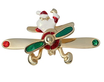 Santa Flying Airplane with Spinning Prop Brooch Pin in Red and Green Gold Tone Costume Jewelry