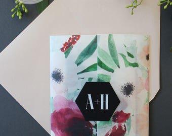 Floral Watercolor Wedding Invitation Vellum Wrap Hexagon Seal Marsala Blush Cranberry Black Ivory Bold Modern Invite Custom Available