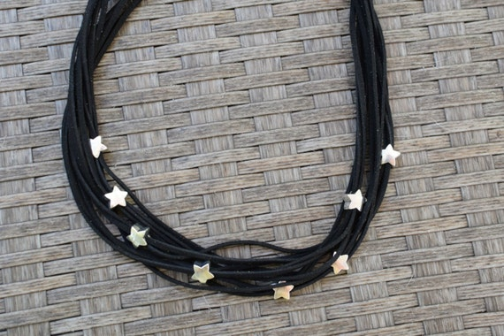 Black necklace,statement necklace,stars necklace,stars choker,stars bib,black stars necklace,suede choker,suede necklace,beaded necklace
