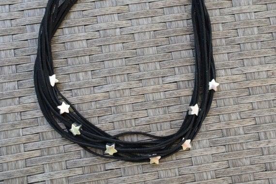 Black necklace,statement necklace,stars necklace,stars choker,stars bib,black stars necklace,suede choker,suede necklace,beaded necklace