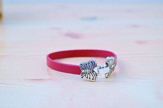 Butterfly bracelet,leather bracelet,pink bracelet,butterfly cuff,pink butterfly cuff,pink cuff,violet cuff,pink butterflies cuff