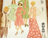 McCall's 6345 Cowl Dress Top Skirt Duster Vest Jacket Womens Misses Vintage 1970s Half Size Sewing Pattern Bust 43 45 47 Uncut Factory Folds