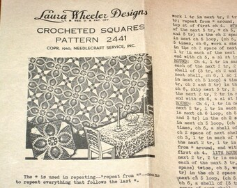 Vintage 1940s Mail Order Crochet Craft Pattern Laura Wheeler 2441 Medallion Square, Crocheted Thread Lace Doily Petal Star Pineapple Doilies