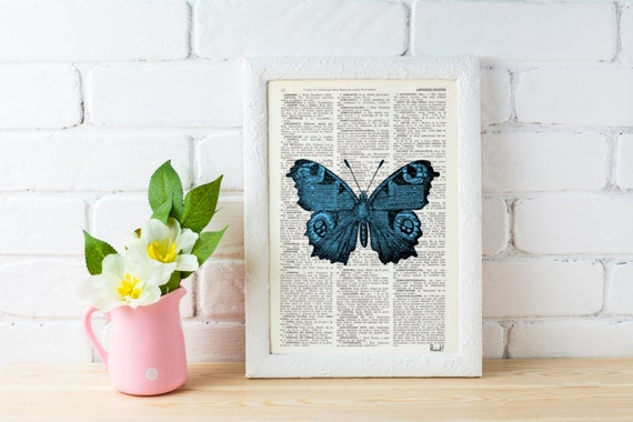 Blue Butterfly Dictionary Book Print - wall art Altered art on upcycled book pages BFL033b