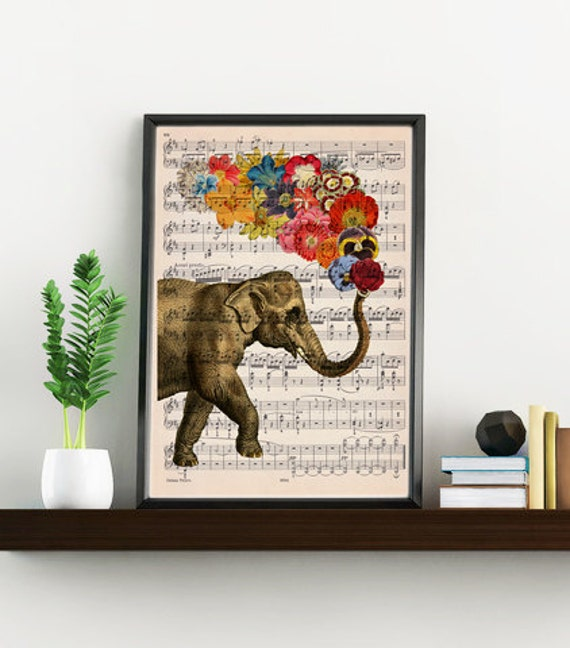Spring Sale Elephant with flowers music sheet Print - Elephant art print, Music sheet wall art Elephant Nursery decor wall art MP06