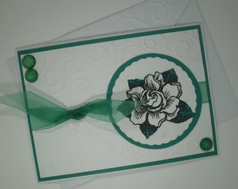 Gardenia Card, Handmade Card, All Occasion Card, Happy Birthday, Get Well Card, Flower, Gardenia, Scented Card, Birthday Card
