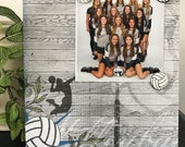 """Hard Court Volleyball Sports Version 2 team coach custom photo gift handmade magnetic picture frame holds 5"""" x 7"""" photo 9"""" x 11"""" size"""