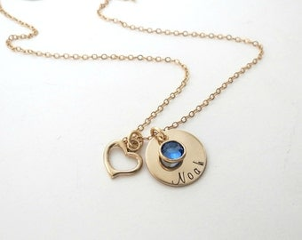 Personalized Name Necklace with Birthstones - Gold Heart Charm - Personalized Jewelry - Kids Name - Mothers Necklace - Grandma Necklace