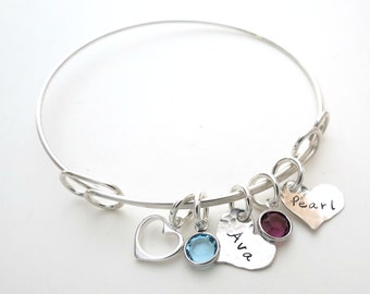 Personalized Bracelet with Birthstones and Heart Charm  - Personalized Bangle - Personalized Jewelry - Mothers - Kids Name - Engraved