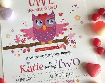 Owl, Valentine, Birthday, Party, Invitation