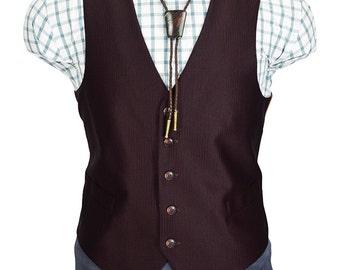 44 Short Men's Burgundy Striped Two pocket Gentry Vintage Vest
