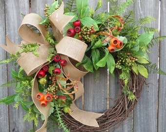 Everyday Wreath - Wreath Great for All Year Round - Spring Summer Fall Burlap Wreath, Door Wreath, Front Door Wreath, Door Decor, Artificial