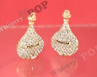 1 - 3D  Gold Tone Clear Diamante Perfume Parfum Bottle Rhinestone Pendant Enamel Charm, Perfume Charm, 53mm x 32mm (R9-086)