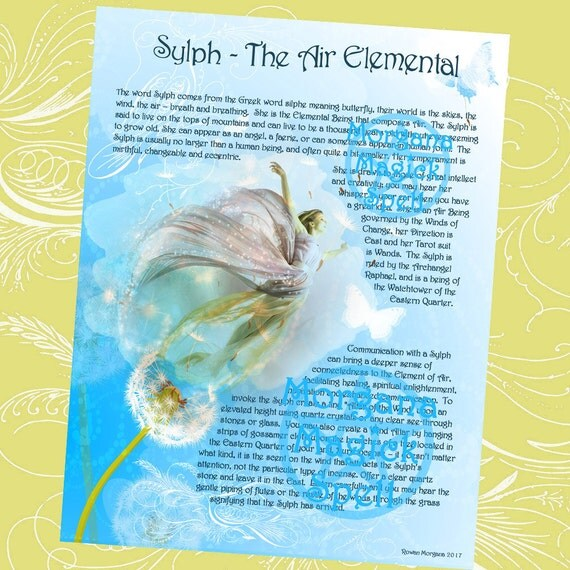 SYLPH the AIR ELEMENTAL, Digital Download, Element Spell,Faerie, Book of Shadows Page, Grimoire, Scrapbook, Spells