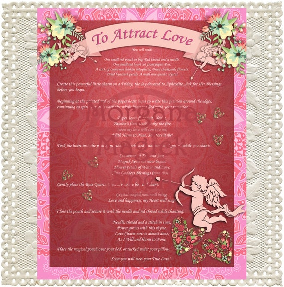 ATTRACT LOVE,  Digital Download, White Magick, Love Spell, Wicca, Book of Shadows Page, Grimoire, Scrapbook, Spells