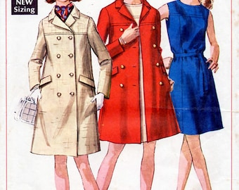 1960s Coat and Dress Pattern Simplicity 8043 Vintage Sewing Pattern A Line Dress & Double Breasted Winter Coat Bust 32.5