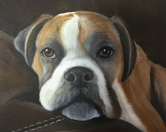 Boxer dog painting from photo 11x14 custom pet portrait on canvas hand painted art cat