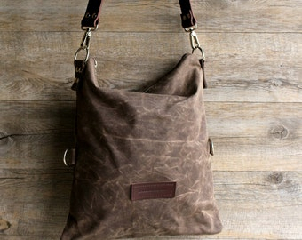 Waxed canvas bag - waxed cotton bag - hobo bag - bag in canvas - shoulder bag - gift for wife - Valentines day - gift for her -