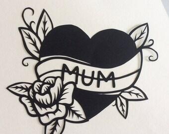 Papercut art love heart, Gift for mum, Handmade papercutting, New mum, Mother's Day present, Baby shower, Papercutting, Wall art, Tattoo art