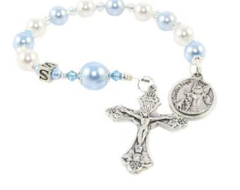 Guardian Angel Chaplet Rosary, Personalized, Swarovski® Pearls for Baby Boy